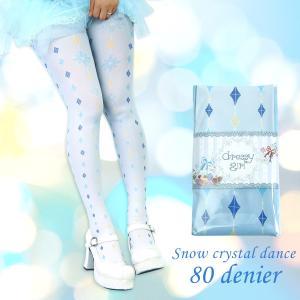 dressy girl ドレッシィガール Ladys tights 80denier Snow crystal dance(レディースタイツ 80デニール スノークリスタルダンス)|beyondcool