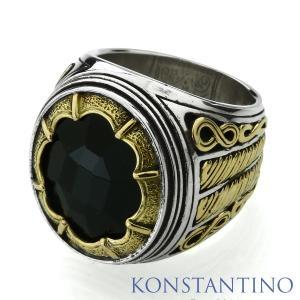 KONSTANTINO コンスタンティーノ S/S&K18ゴールド インフィニティストリングリング w/オニキス|beyondcool