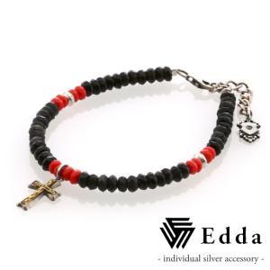 Edda エッダ クロスチャーム ビーズブレスレット レディス EB-001-RB-L|beyondcool