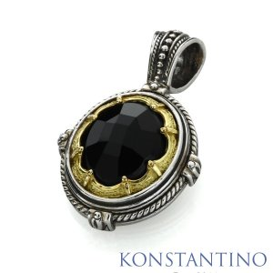 KONSTANTINO コンスタンティーノ S/S&K18ゴールド インフィニティペンダント w/オニキス|beyondcool