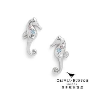【Olivia Burton オリビア・バートン 日本公式】アンダーザシー シーホース スパークル スタッド シルバー - レディース ピアス|beyondcool