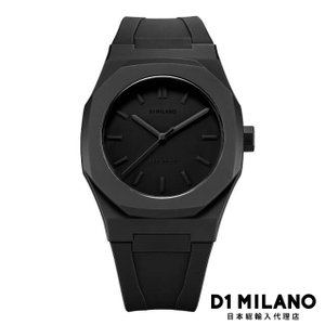 D1ミラノ 時計 メンズ D1 MILANO Monochrome Watch Black with rubber strap beyondcool