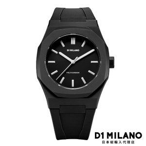D1ミラノ 時計 メンズ D1 MILANO Essential Watch Black with Silver Index with rubber strap|beyondcool
