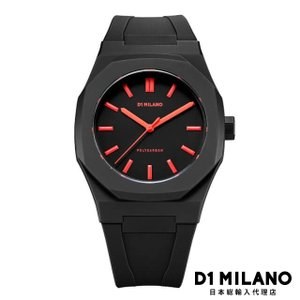 D1ミラノ 時計 メンズ D1 MILANO Neon Watch Black with Red Index with rubber strap beyondcool