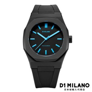 D1ミラノ 時計 メンズ D1 MILANO Neon Watch Black with Blue Index with rubber strap beyondcool