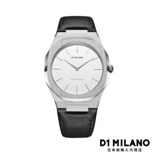 D1ミラノ 日本総輸入代理店 腕時計 メンズ 時計 D1 MILANO Ultra Thin Silver Case Leather Strap|beyondcool