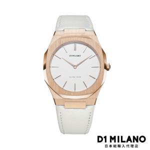 D1ミラノ 日本総輸入代理店 腕時計 メンズ レディース 時計 D1 MILANO Ultra Thin Rose Gold Case Leather Strap|beyondcool