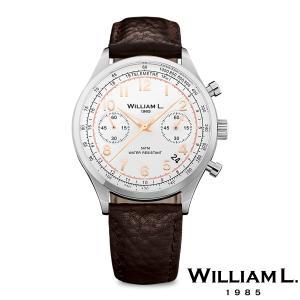 WILLIAM L.1985 ウィリアムエル1985 ヴィンテージスタイルクロノグラフ シルバー ケース ホワイト ダイヤル ブラウン バッファロー - シルバー / 40mm|beyondcool
