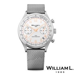 WILLIAM L.1985 ウィリアムエル1985 ヴィンテージスタイルクロノグラフ シルバー ケース ホワイト ダイヤル メッシュ シルバー - シルバー / 40mm|beyondcool