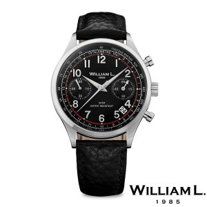 WILLIAM L.1985 ウィリアムエル1985 ヴィンテージスタイルクロノグラフ シルバー ケース ブラック ダイヤル ブラック バッファロー - シルバー / 40mm|beyondcool