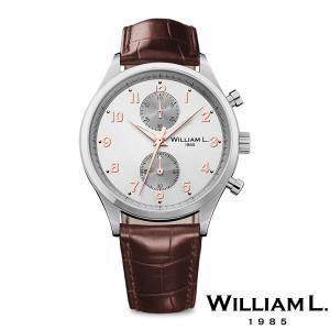 WILLIAM L.1985 ウィリアムエル1985 スモールクロノグラフ シルバー ケース グレー ダイヤル ブラウン クロコ - シルバー / 40mm|beyondcool