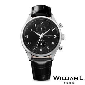 WILLIAM L.1985 ウィリアムエル1985 スモールクロノグラフ シルバー ケース ブラック ダイヤル ブラック クロコ - シルバー / 40mm|beyondcool