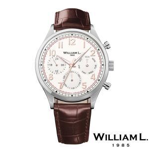 WILLIAM L.1985 ウィリアムエル1985 ヴィンテージスタイルカレンダー シルバー ケース クリーム ダイヤル ブラウン クロコ - シルバー / 40mm|beyondcool