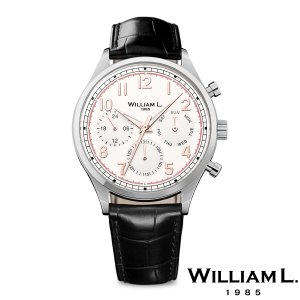 WILLIAM L.1985 ウィリアムエル1985 ヴィンテージスタイルカレンダー シルバー ケース クリーム ダイヤル ブラック クロコ - シルバー / 40mm|beyondcool