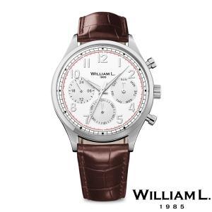 WILLIAM L.1985 ウィリアムエル1985 ヴィンテージスタイルカレンダー シルバー ケース ホワイト ダイヤル ブラウン クロコ - シルバー / 40mm|beyondcool