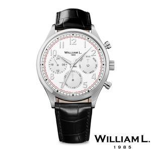 WILLIAM L.1985 ウィリアムエル1985 ヴィンテージスタイルカレンダー シルバー ケース ホワイト ダイヤル ブラック クロコ - シルバー / 40mm|beyondcool