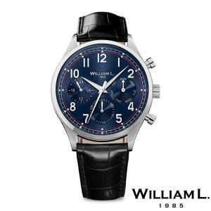WILLIAM L.1985 ウィリアムエル1985 ヴィンテージスタイルカレンダー シルバー ケース ブルー ダイヤル ブラック クロコ - シルバー / 40mm|beyondcool