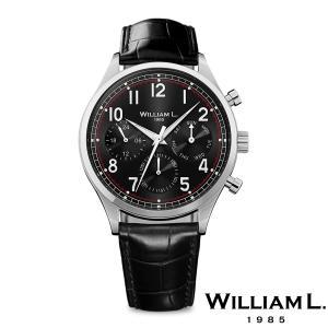WILLIAM L.1985 ウィリアムエル1985 ヴィンテージスタイルカレンダー シルバー ケース ブラック ダイヤル ブラック クロコ - シルバー / 40mm|beyondcool