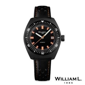 ウィリアムエル1985 腕時計 メンズ オートマチックダイバー 70's スタイルブラックケースレザーベルト 36mm [WILLIAM L.1985]|beyondcool