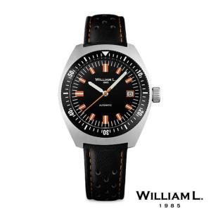 ウィリアムエル1985 腕時計 メンズ オートマチックダイバー 70's スタイルシルバーケースレザーベルト 36mm [WILLIAM L.1985]|beyondcool