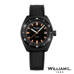 1ce8a0218af8 ウィリアムエル1985 腕時計 メンズ オートマチックダイバー 70's スタイルブラックケースラバーベルト 36mm [WILLIAM L.1985]