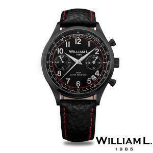 WILLIAM L.1985 ヴィンテージスタイルクロノグラフ ブラック ケース ブラック ダイヤル ブラック バッファロー ベルト レッド スティッチ - ブラック / 40mm|beyondcool