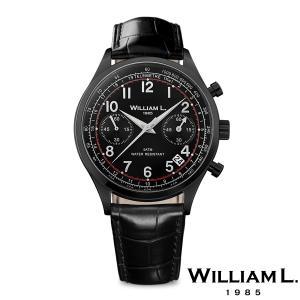 WILLIAM L.1985 ウィリアムエル1985 ヴィンテージスタイルクロノグラフ ブラック ケース ブラック ダイヤル ブラック クロコ - ブラック / 40mm|beyondcool