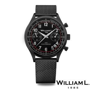 WILLIAM L.1985 ウィリアムエル1985 ヴィンテージスタイルクロノグラフ ブラック ケース ブラック ダイヤル メッシュ ブラック - ブラック / 40mm|beyondcool