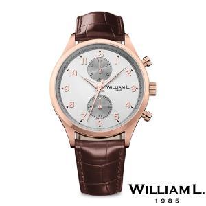 WILLIAM L.1985 ウィリアムエル1985 スモールクロノグラフ ローズゴールド ケース グレー ダイヤル ブラウン クロコ - ローズゴールド / 40mm|beyondcool