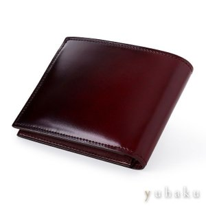 YUHAKU ユハク デュモンド 二つ折り財布 ワイン 札入れのみ 本革(コードバン×国産牛革)|beyondcool