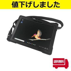 耐衝撃・Surface GO専用シリコンカバーケース ストラップ・ハンドベルト付き 360度回転 bfd