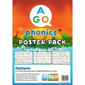 AGO フォニックス 教室用ポスター 3レベル セット 英語 bfe