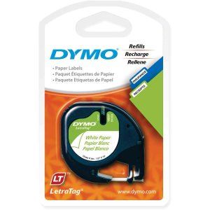 Dymo 1/2in X 13ft Letratag White Paper Tape (2-Tapes) bfe