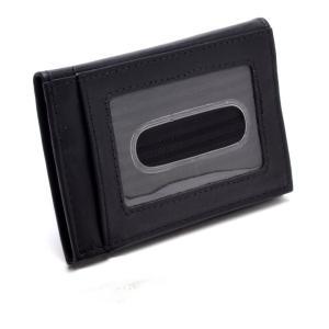 (Marib select) 牛革 二つ折り カードケース 定期入れ IDケース パスケース 免許証ケース 紳士 本革 オールレザー メンズ #b594 (ブラック)|bfe