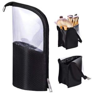 MOMO ペンケース 化粧筆ポーチ 化粧ポーチ 旅行収納 筆箱 小物入れ メイクブラシホルダー バッグ スタンド ケース 24本収納|bfe
