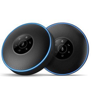 スピーカーフォン-eMeet M220連結機能 360°全方向集音 エコー・ノイズのキャンセリング USB/Bluetooth/AUX 対応 8-16名程度の中大規模会議用ワイヤレススピーカ bfe