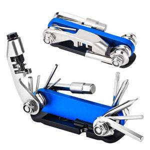 Olycism 自転車工具セット 自転車修理キット 自転車用ツールセット パンク修理キット 15-in-1マルチツール 六角レンチ タイヤレバー 持ち運び便利 収納バッグ 軽|bfe