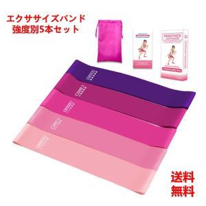 ピンク色 ヨガバンド トレーニングチューブ エクササイズバンド 5本セット ヨガゴム 筋トレゴムバン...