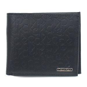 Calvin Klein 74285 二つ折り財布 ブラック メンズ 型押し BILLFOLD WITH COIN CASE カルバンクライン|bheart