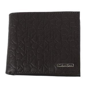 Calvin Klein 74285 二つ折り財布 ブラウン メンズ 型押し BILLFOLD WITH COIN CASE カルバンクライン|bheart