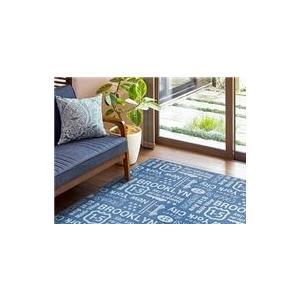 西海岸 インテリア 男前 ブルックリンスタイル ラグマット 絨毯 ブルー 正方形 洗える 綿混 ホットカーペット 床暖房可 ウレタン|biaro