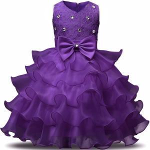 ドレス キッズ 子供用 女の子 100・110・120・130・140サイズ 紫色 キラキラ付き|biaro