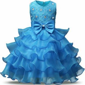 ドレス キッズ 子供用 女の子 100・110・120・130・140サイズ 水色 キラキラ付き|biaro