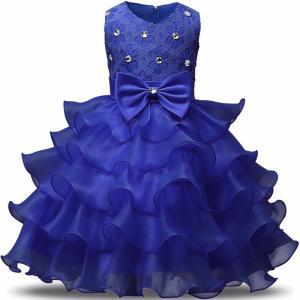 ドレス キッズ 子供用 女の子 100・110・120・130・140サイズ ブルー キラキラ付き|biaro