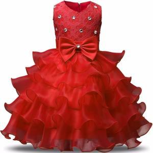 ドレス キッズ 子供用 女の子 100サイズ 赤色 キラキラ付き 100センチ レッド|biaro