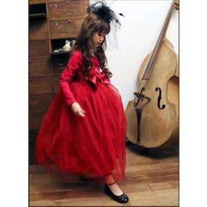 ドレス キッズ 子供用 女の子 100・110・120・130・140サイズ 赤色|biaro