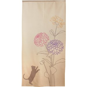 のれん 間仕切り 暖簾 目隠し 幅約85cm×丈約170cm モダン ネコとダリア 日本製 送料無料|bic-shop