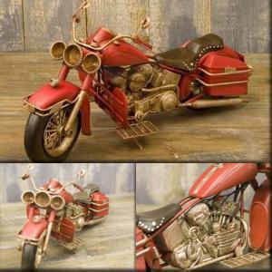 送料無料 ミニチュアのブリキバイク オールド バイク ビンテージ レッド 1104A-3584|bic-shop
