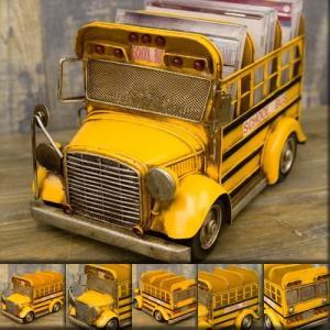 送料無料 ミニチュアのヴィンテージカー ビンテージ グッド オールド スクールバス CDボックス  1104E-2460|bic-shop