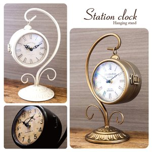 送料無料 置時計 Station Clock ヨーロッパ風 両面時計 ステーションクロック ボスサイドハンギング 1520-10|bic-shop